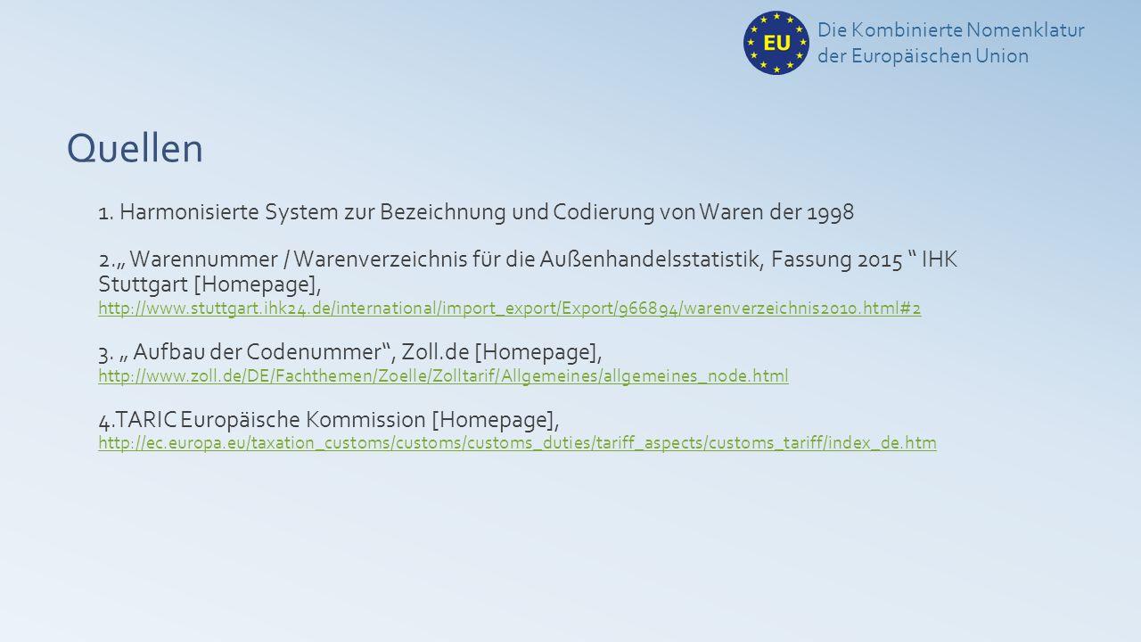 Die Kombinierte Nomenklatur der Europäischen Union