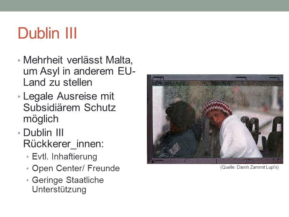 Dublin III Mehrheit verlässt Malta, um Asyl in anderem EU- Land zu stellen. Legale Ausreise mit Subsidiärem Schutz möglich.