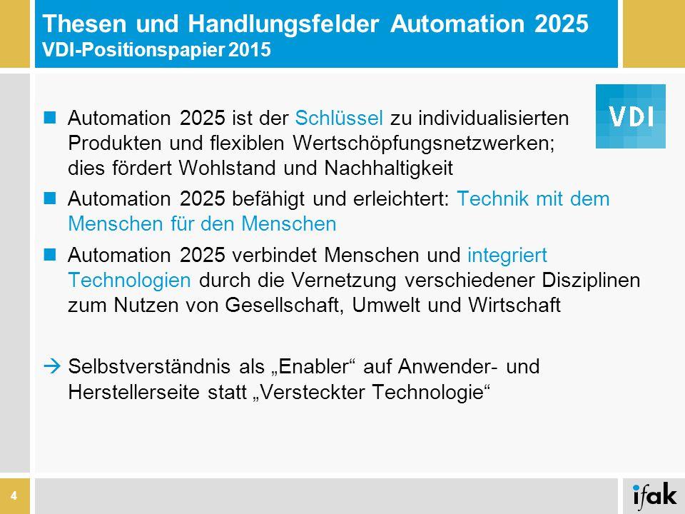 Thesen und Handlungsfelder Automation 2025 VDI-Positionspapier 2015