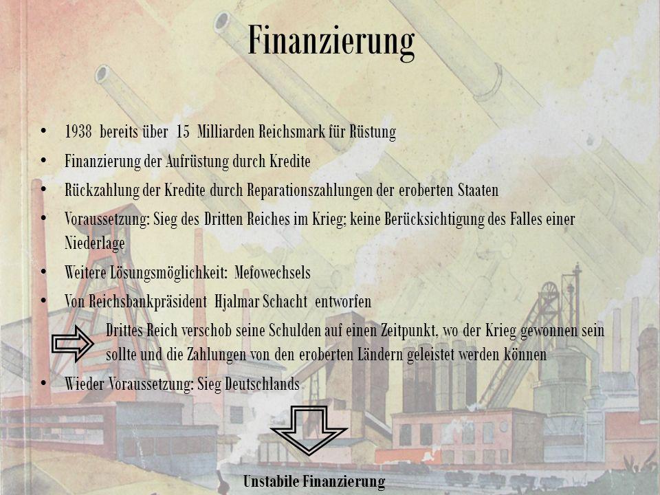 Finanzierung 1938 bereits über 15 Milliarden Reichsmark für Rüstung