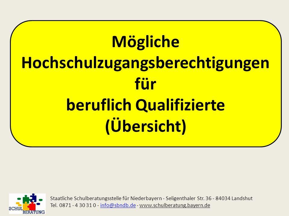 Mögliche Hochschulzugangsberechtigungen für beruflich Qualifizierte (Übersicht)