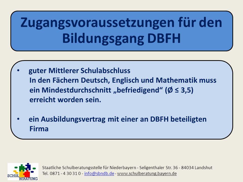 Zugangsvoraussetzungen für den Bildungsgang DBFH