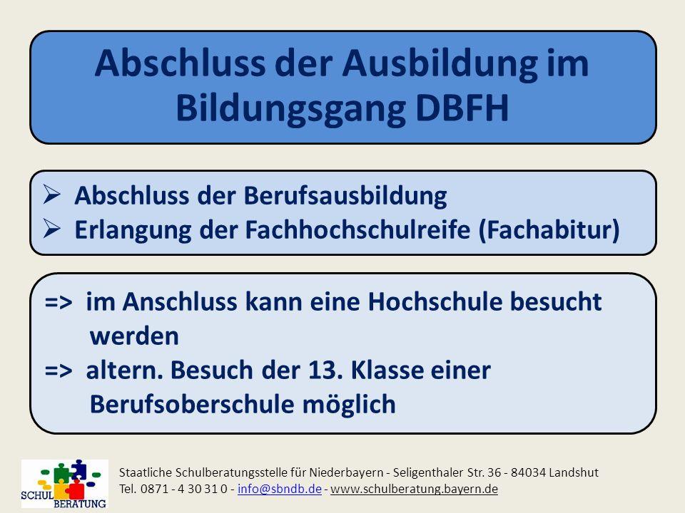 Abschluss der Ausbildung im Bildungsgang DBFH