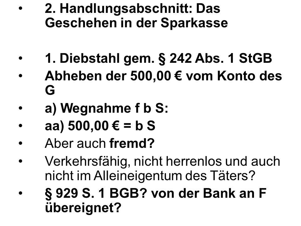 2. Handlungsabschnitt: Das Geschehen in der Sparkasse