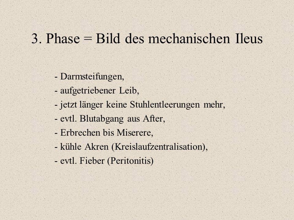 3. Phase = Bild des mechanischen Ileus