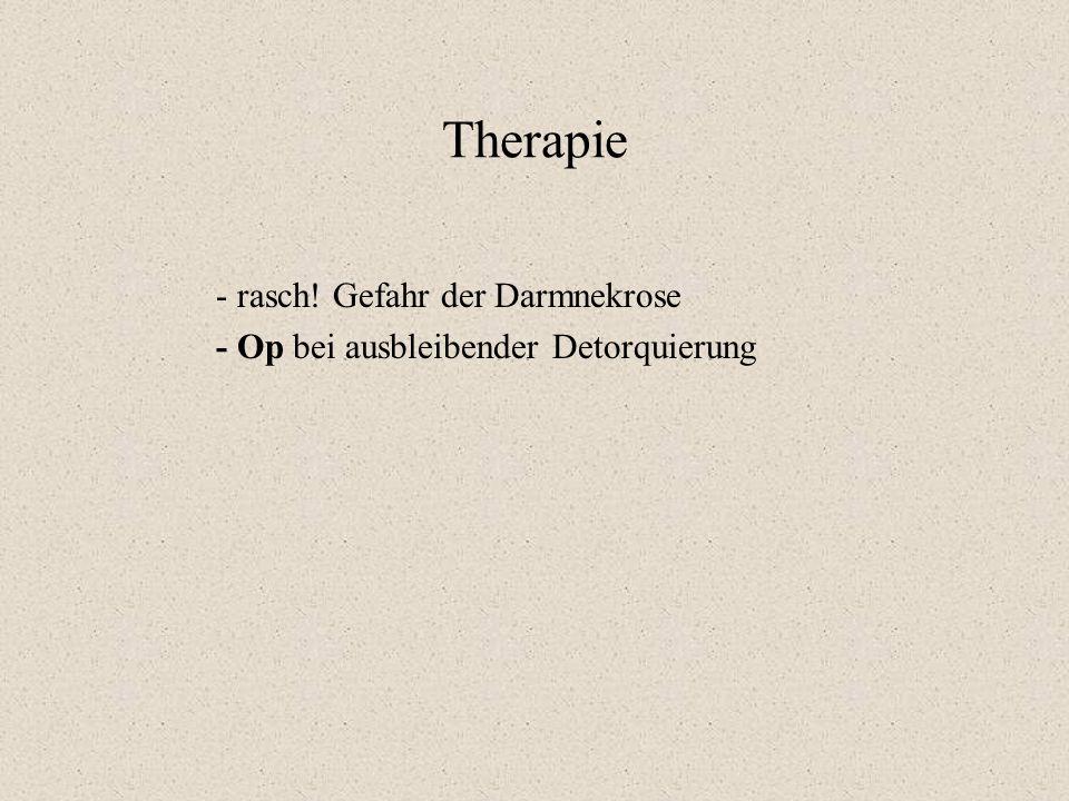 Therapie - rasch! Gefahr der Darmnekrose