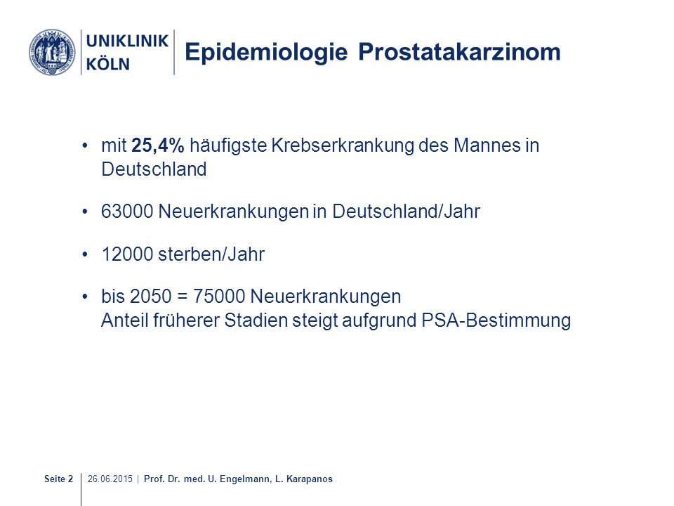 Epidemiologie Prostatakarzinom