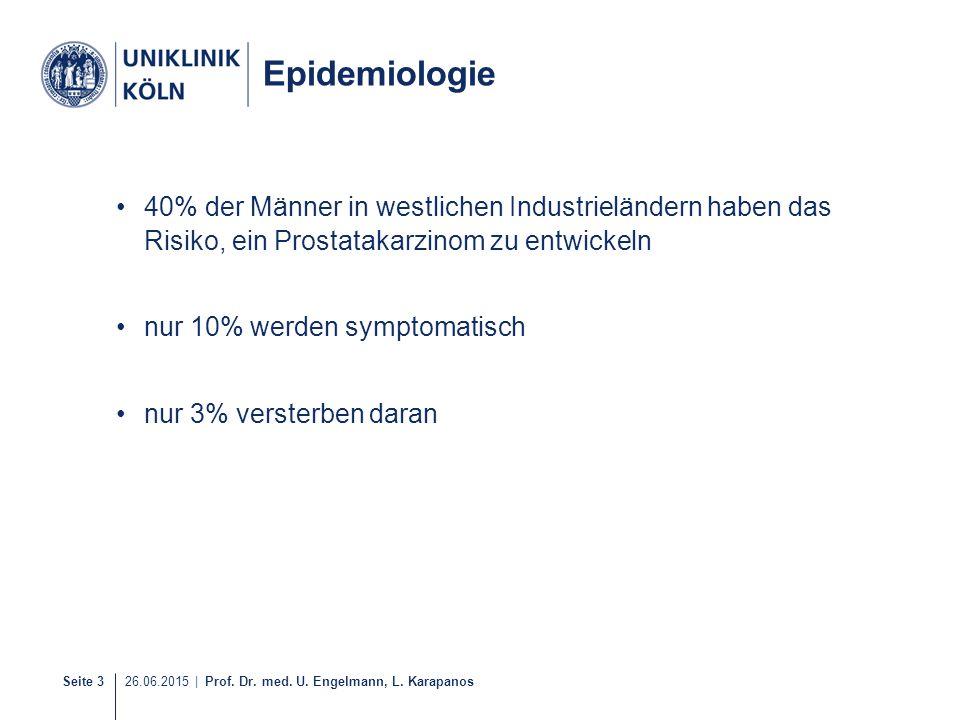 Epidemiologie 40% der Männer in westlichen Industrieländern haben das Risiko, ein Prostatakarzinom zu entwickeln.