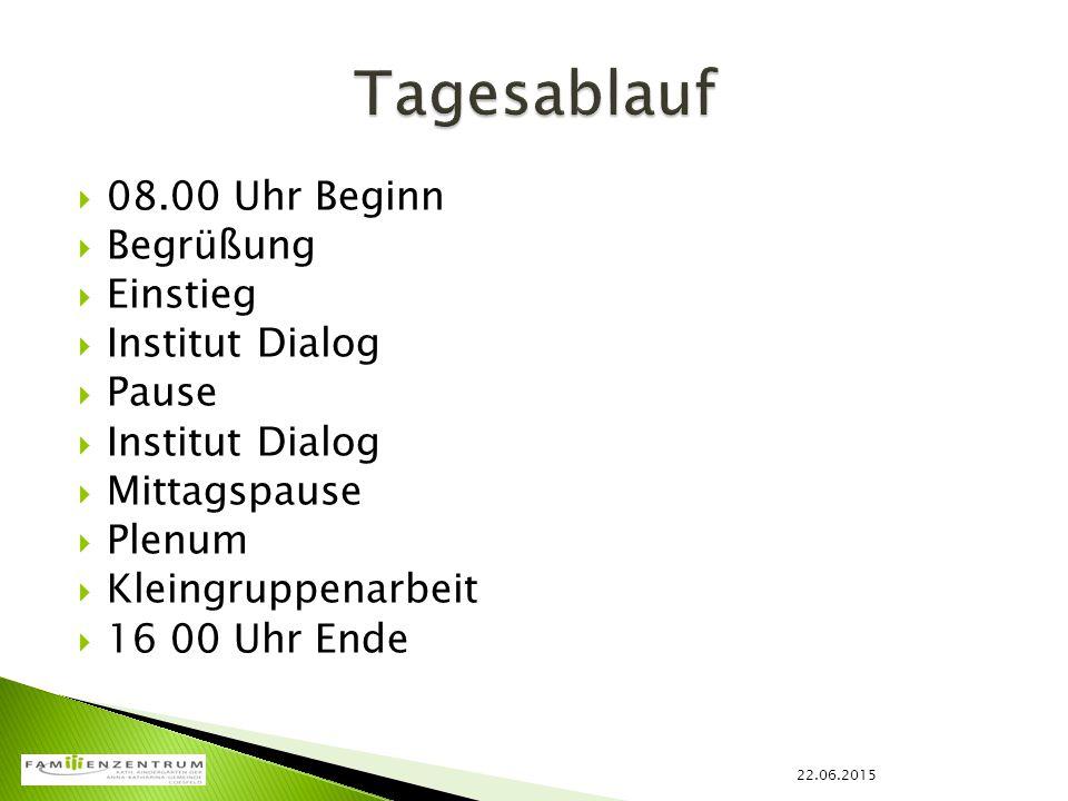 Tagesablauf 08.00 Uhr Beginn Begrüßung Einstieg Institut Dialog Pause