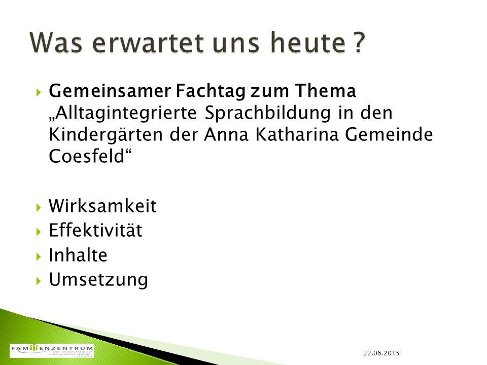 """Was erwartet uns heute Gemeinsamer Fachtag zum Thema """"Alltagintegrierte Sprachbildung in den Kindergärten der Anna Katharina Gemeinde Coesfeld"""