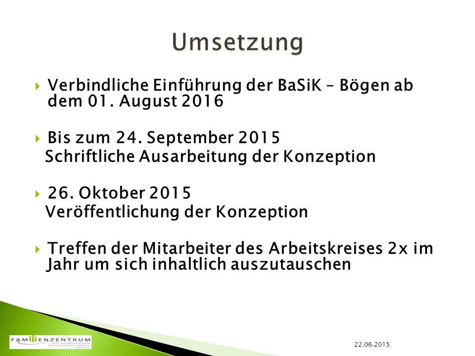 Umsetzung Verbindliche Einführung der BaSiK – Bögen ab dem 01. August 2016. Bis zum 24. September 2015.