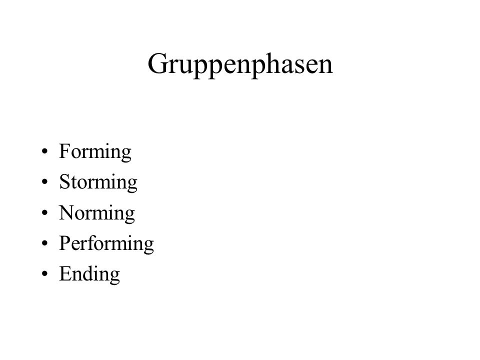 Gruppenphasen Forming Storming Norming Performing Ending