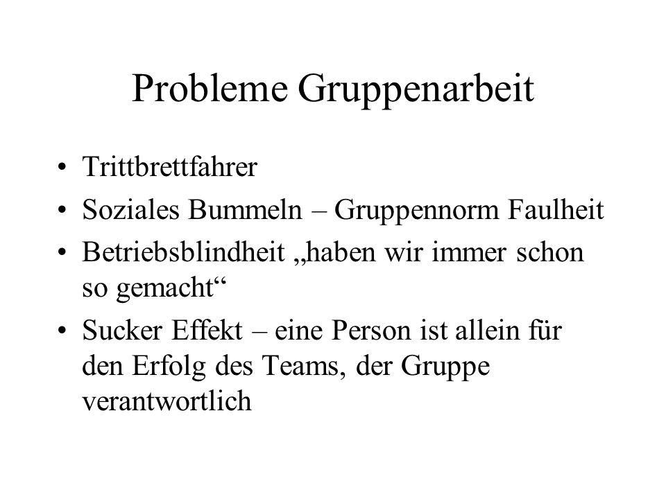 Probleme Gruppenarbeit
