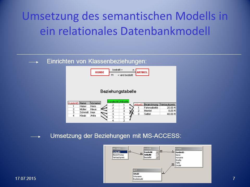 Umsetzung des semantischen Modells in ein relationales Datenbankmodell