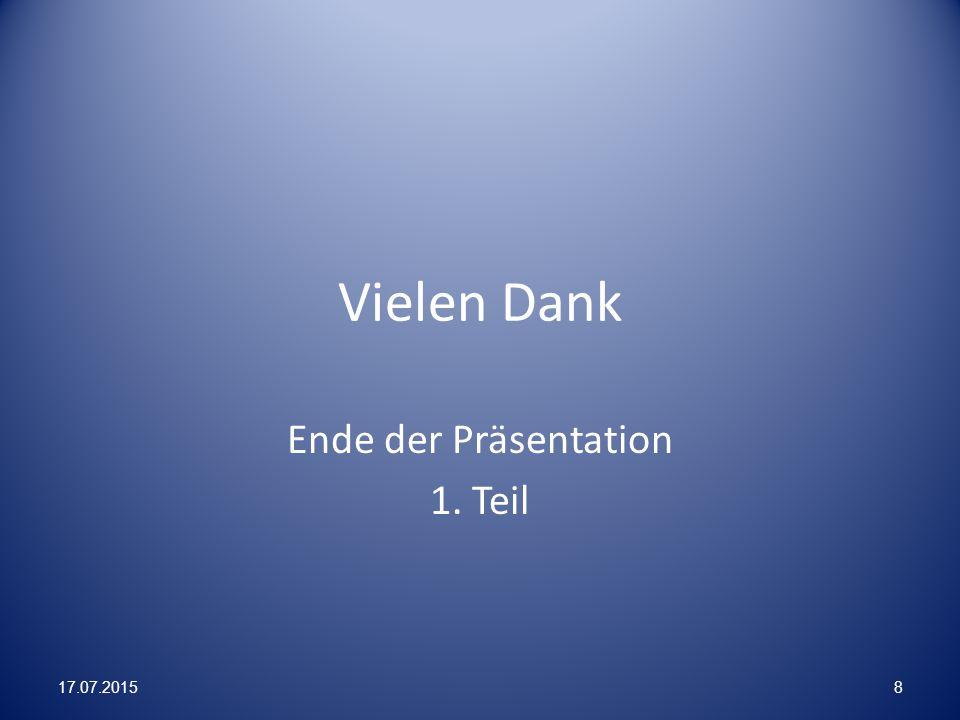 Ende der Präsentation 1. Teil