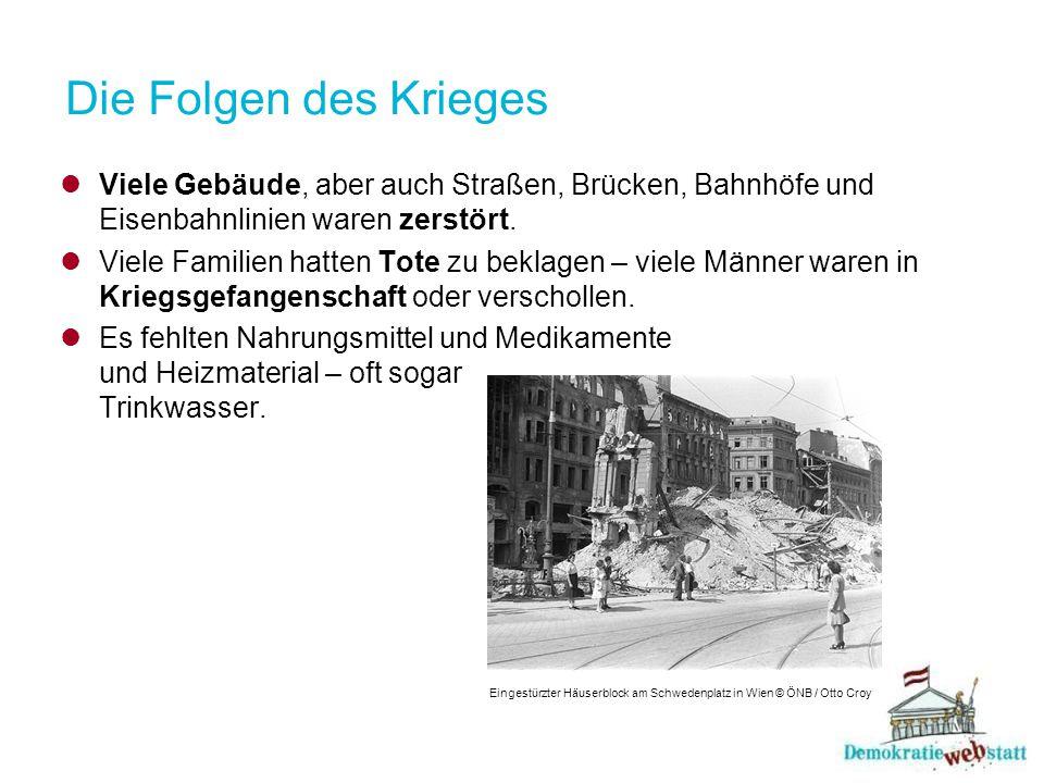 Die Folgen des Krieges Viele Gebäude, aber auch Straßen, Brücken, Bahnhöfe und Eisenbahnlinien waren zerstört.