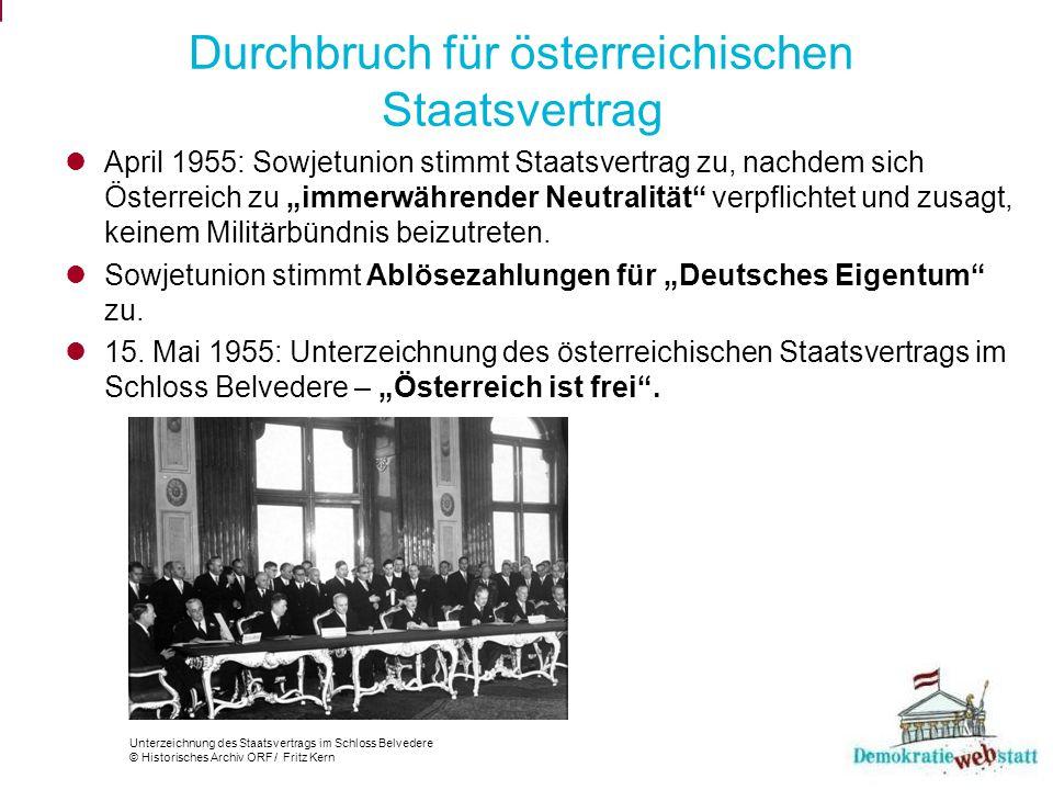 Durchbruch für österreichischen Staatsvertrag