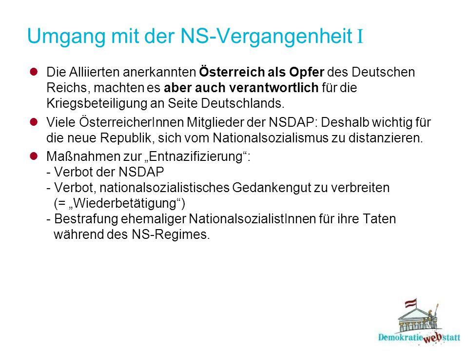 Umgang mit der NS-Vergangenheit I