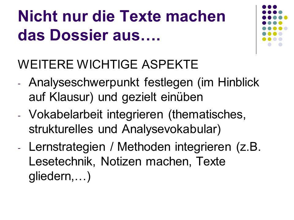 Nicht nur die Texte machen das Dossier aus….