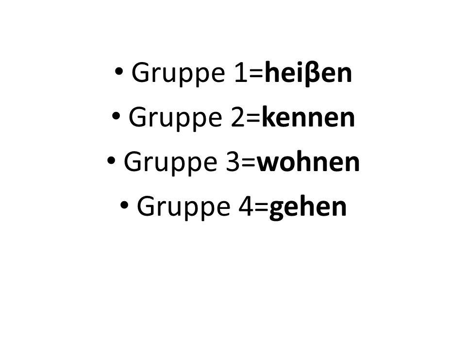 Gruppe 1=heiβen Gruppe 2=kennen Gruppe 3=wohnen Gruppe 4=gehen