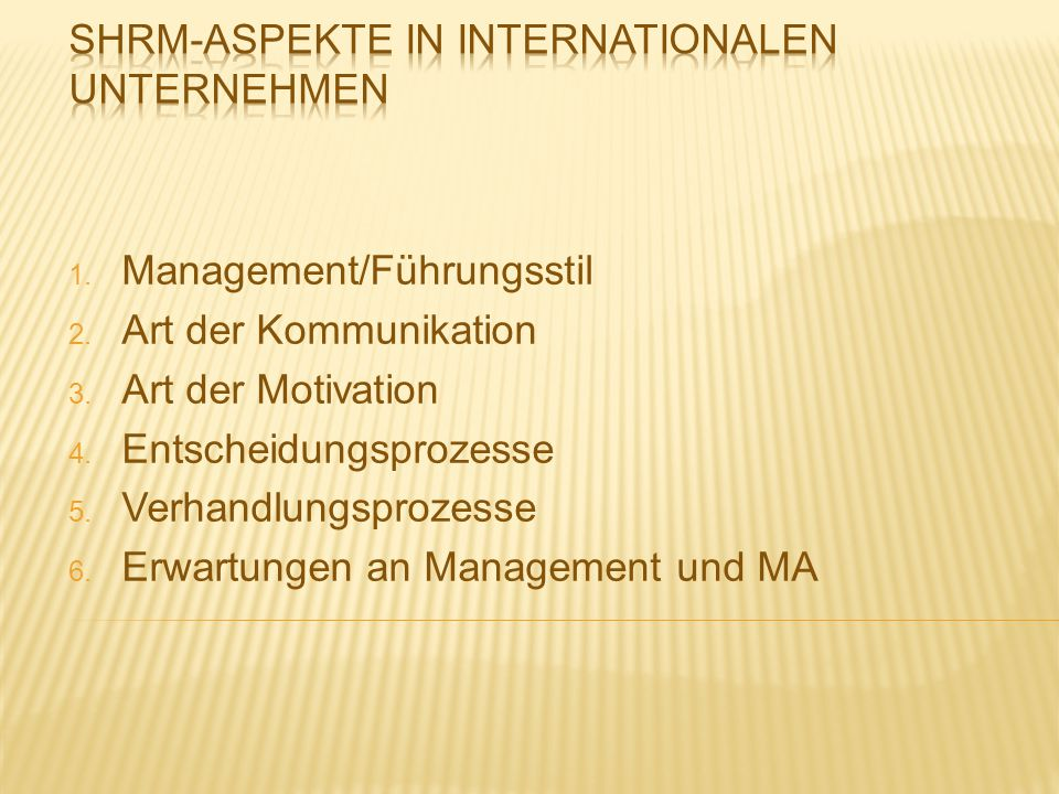 SHRM-Aspekte in Internationalen Unternehmen