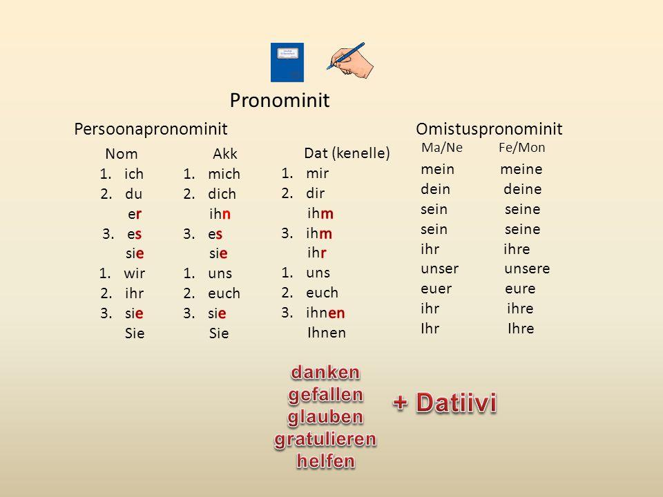 + Datiivi Pronominit Persoonapronominit Omistuspronominit danken