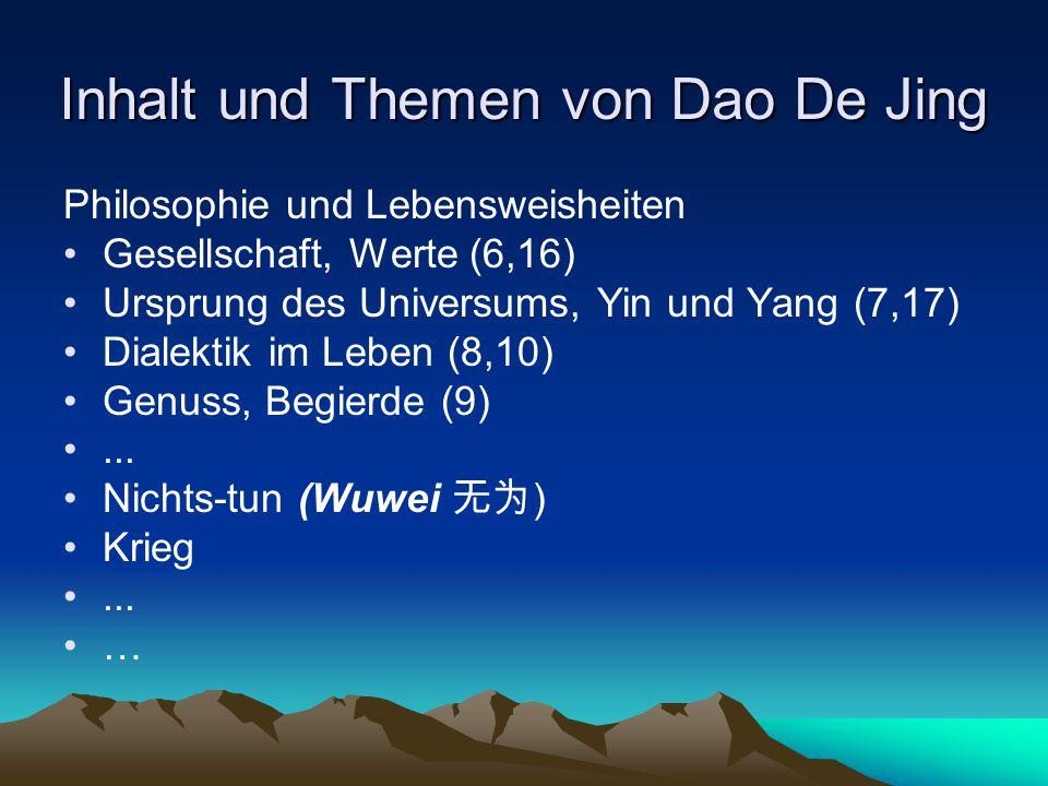 Inhalt und Themen von Dao De Jing