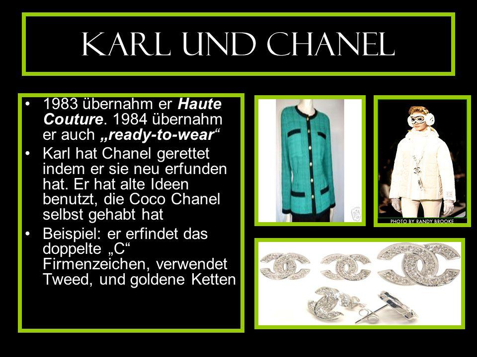 """Karl und Chanel 1983 übernahm er Haute Couture. 1984 übernahm er auch """"ready-to-wear"""