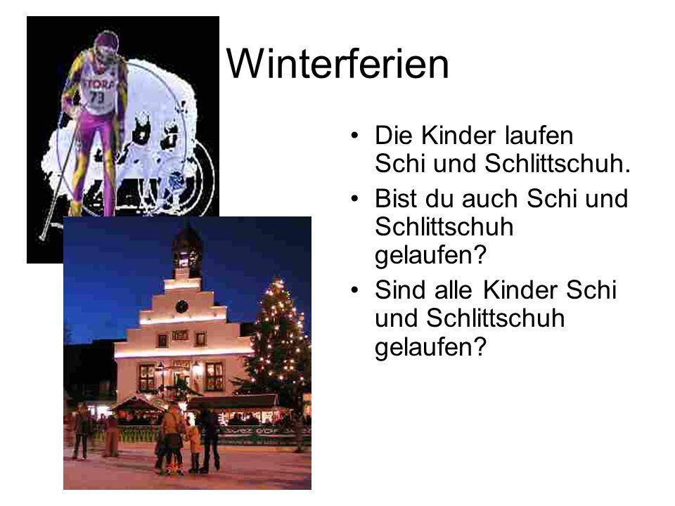 Winterferien Die Kinder laufen Schi und Schlittschuh.