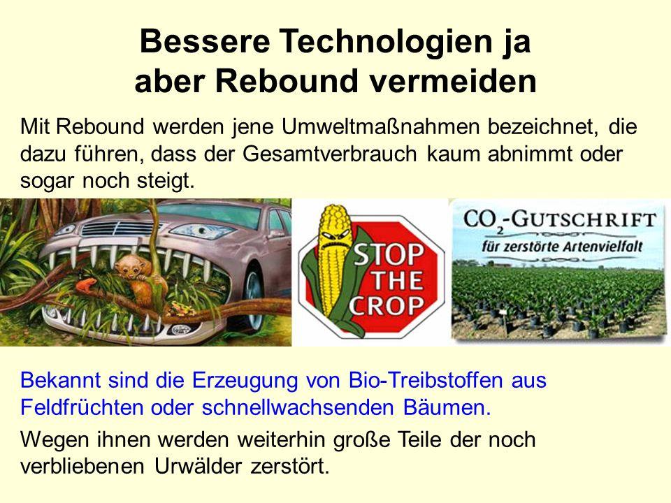 Bessere Technologien ja aber Rebound vermeiden
