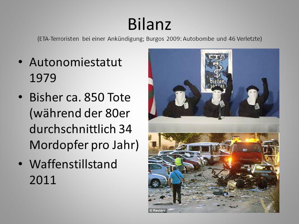 Bilanz (ETA-Terroristen bei einer Ankündigung; Burgos 2009: Autobombe und 46 Verletzte)