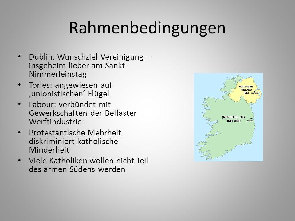 Rahmenbedingungen Dublin: Wunschziel Vereinigung – insgeheim lieber am Sankt-Nimmerleinstag. Tories: angewiesen auf 'unionistischen' Flügel.