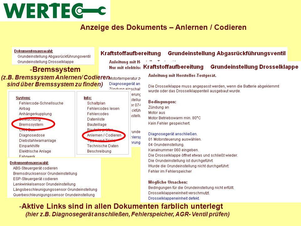 Anzeige des Dokuments – Anlernen / Codieren
