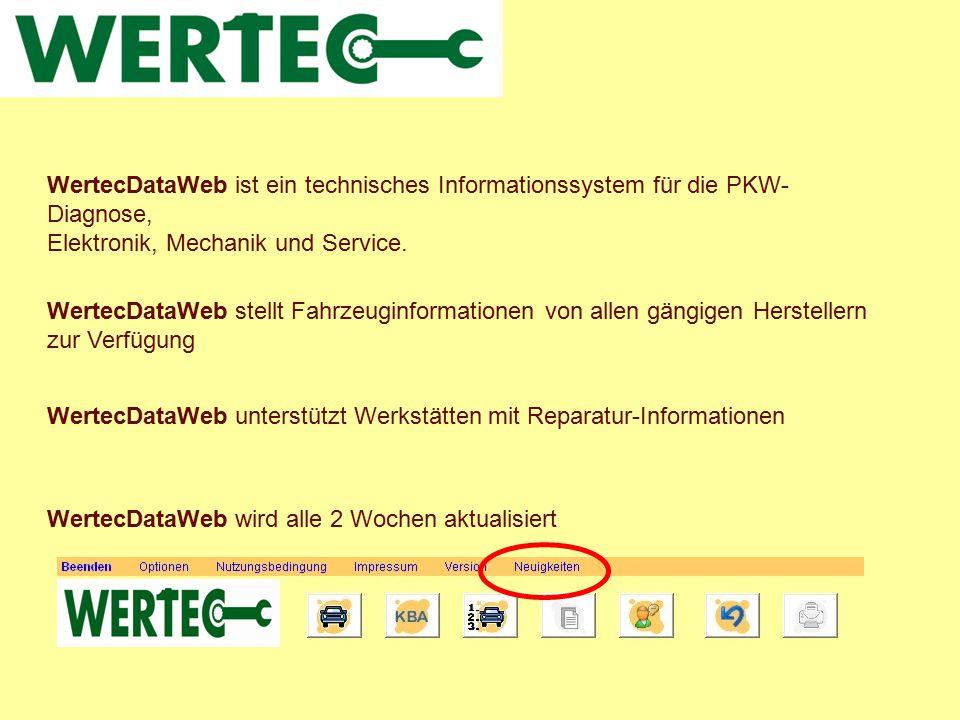 WertecDataWeb ist ein technisches Informationssystem für die PKW-Diagnose,