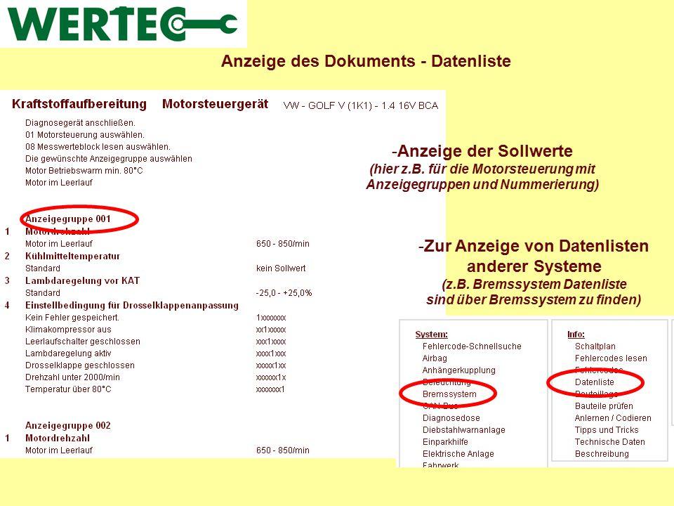 Anzeige des Dokuments - Datenliste