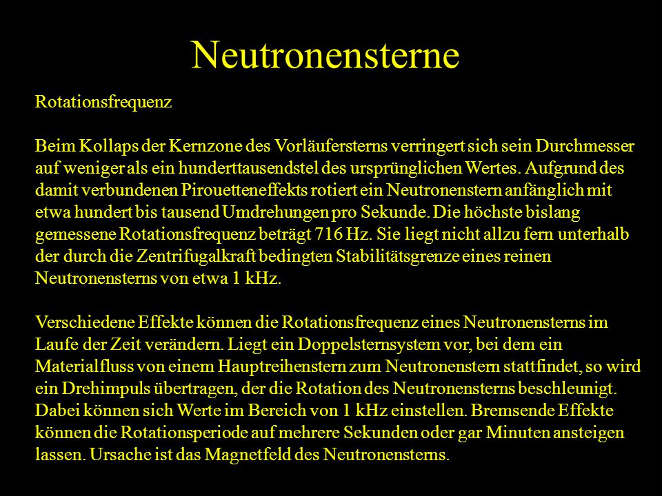 Neutronensterne Rotationsfrequenz