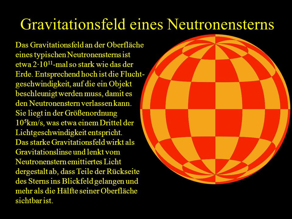Gravitationsfeld eines Neutronensterns