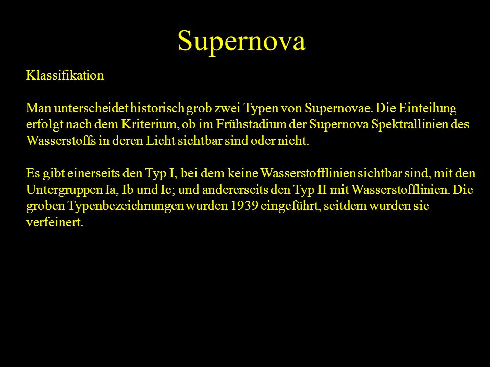 Supernova Klassifikation