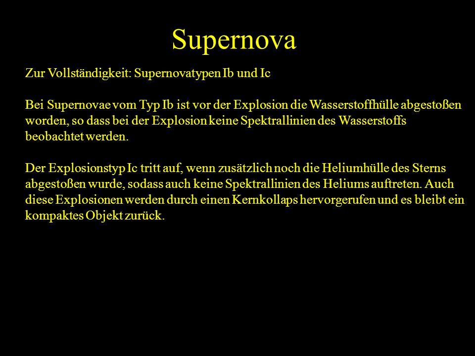 Supernova Zur Vollständigkeit: Supernovatypen Ib und Ic