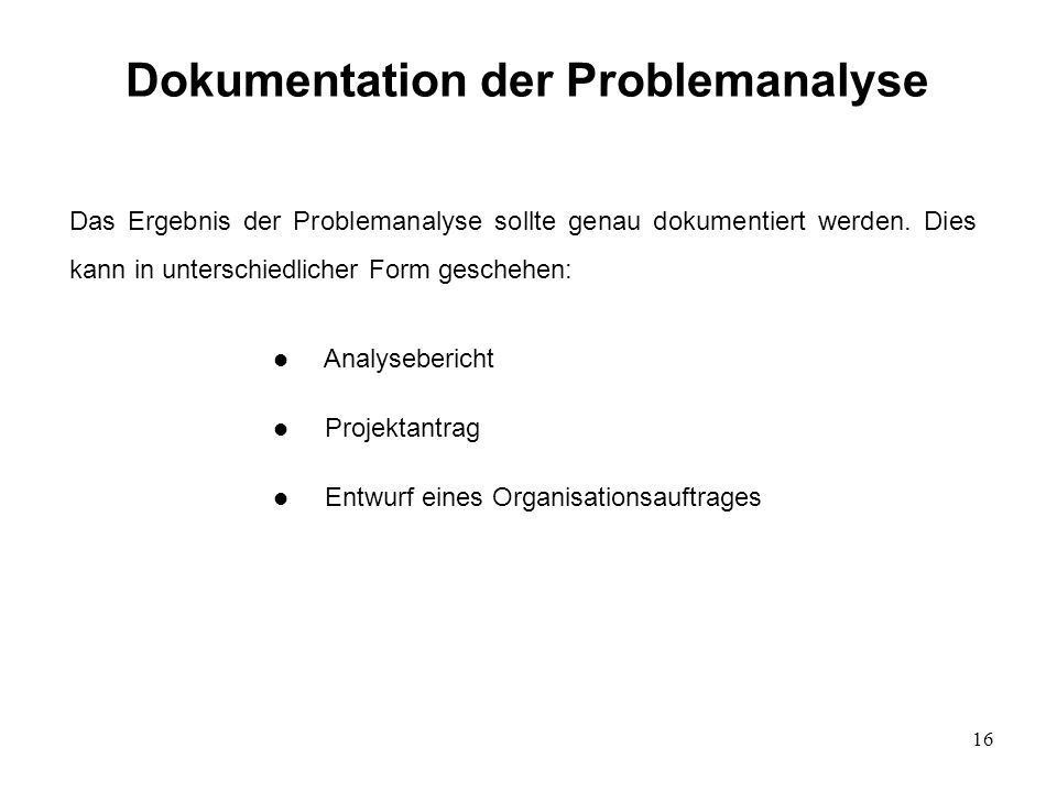 Dokumentation der Problemanalyse