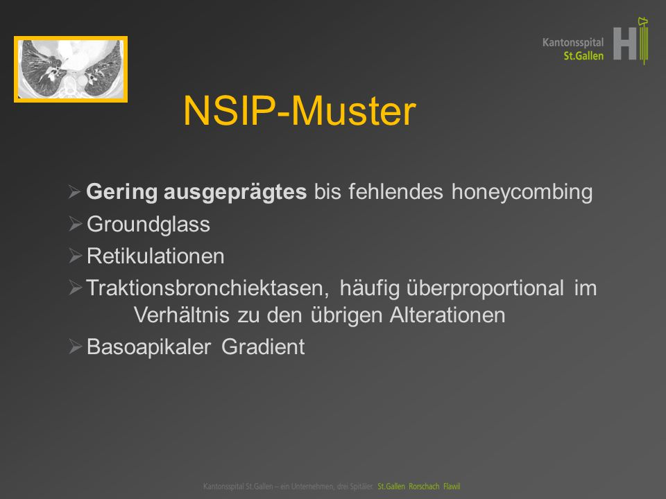 NSIP-Muster Groundglass Retikulationen