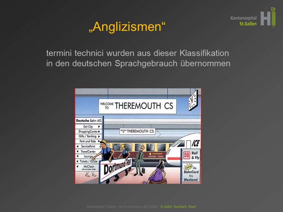 """""""Anglizismen termini technici wurden aus dieser Klassifikation in den deutschen Sprachgebrauch übernommen."""