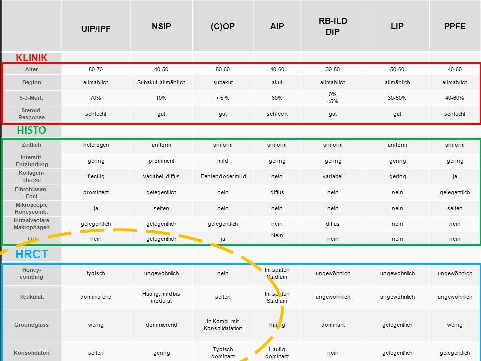 HISTO HRCT KLINIK UIP/IPF NSIP (C)OP AIP RB-ILD DIP LIP PPFE Alter