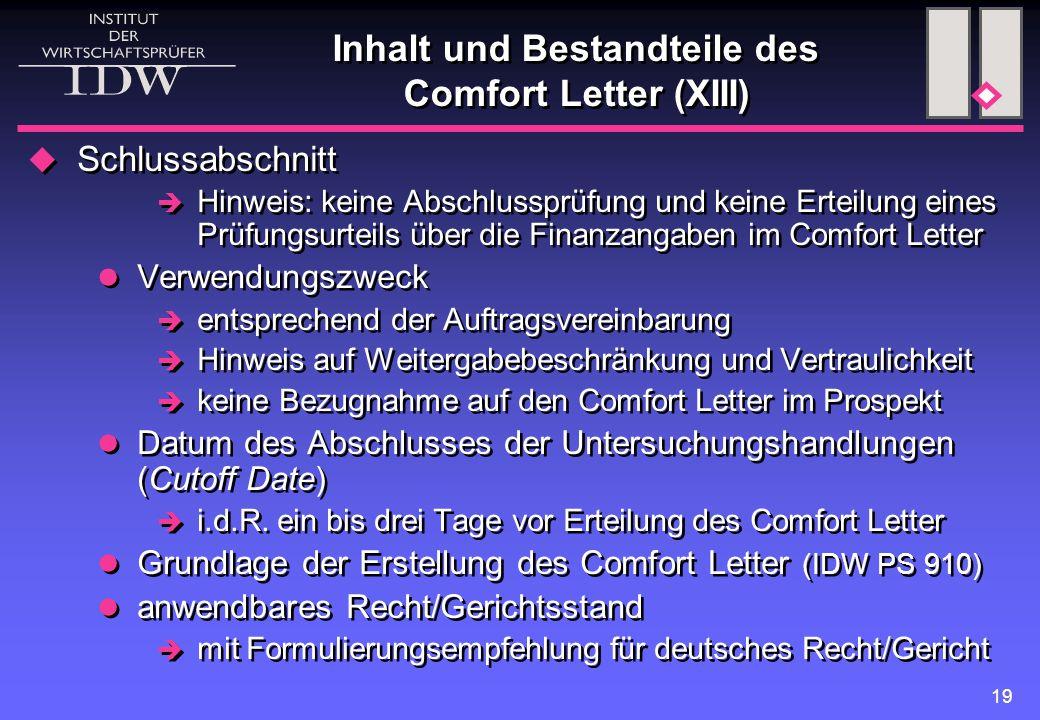 Inhalt und Bestandteile des Comfort Letter (XIII)