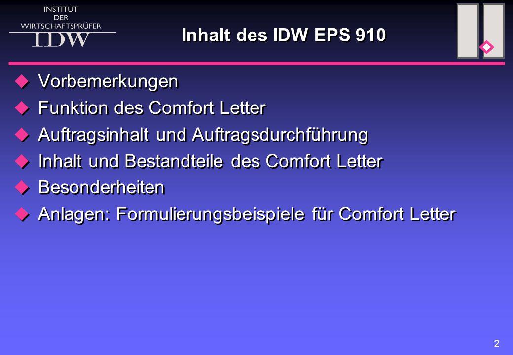 Inhalt des IDW EPS 910 Vorbemerkungen. Funktion des Comfort Letter. Auftragsinhalt und Auftragsdurchführung.