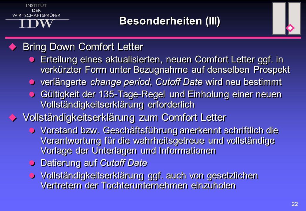 Besonderheiten (III) Bring Down Comfort Letter