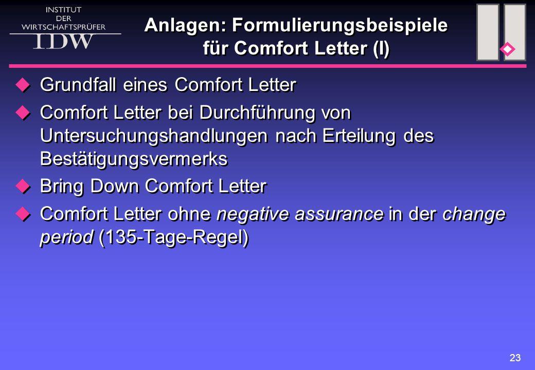 Anlagen: Formulierungsbeispiele für Comfort Letter (I)