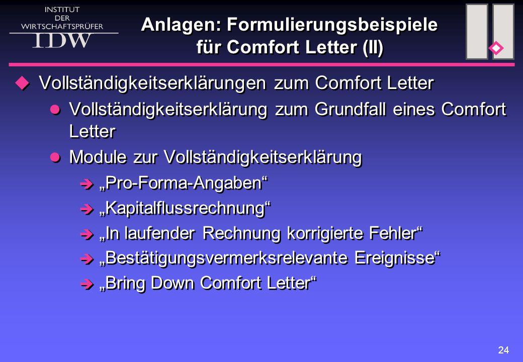 Anlagen: Formulierungsbeispiele für Comfort Letter (II)