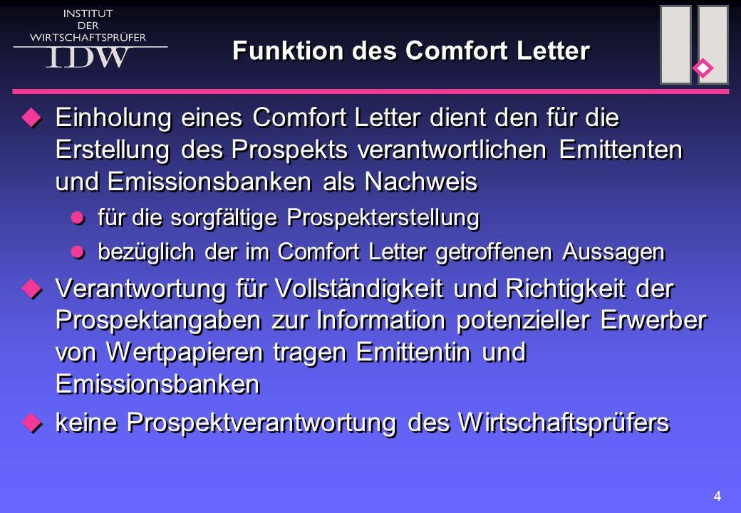 Funktion des Comfort Letter