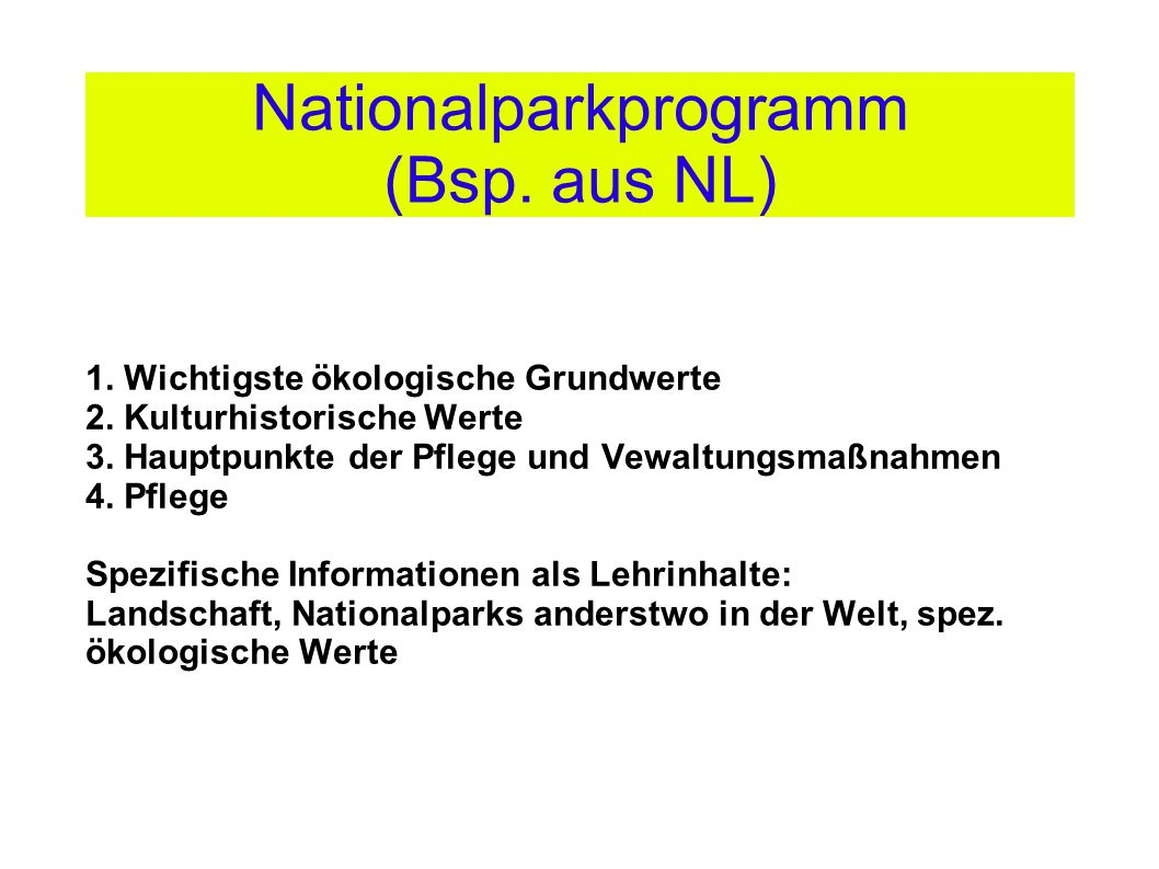 Nationalparkprogramm (Bsp. aus NL)